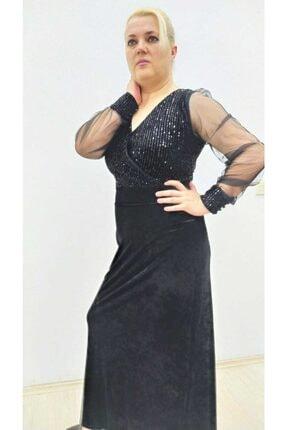 hilaltrend Kadın Siyah Kadife Pul Payet İşlemeli Abiye Elbise 1