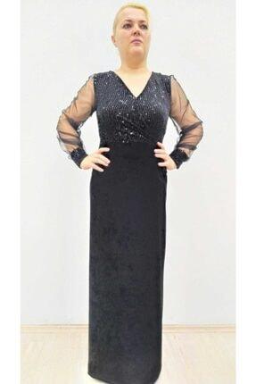 hilaltrend Kadın Siyah Kadife Pul Payet İşlemeli Abiye Elbise 3