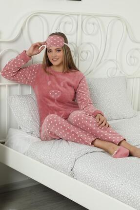 Pijamaevi Pembe Lazy Desenli Kadın Peluş Pijama Takımı 1