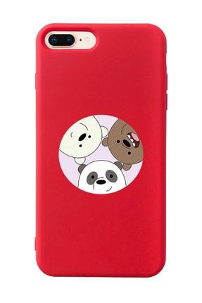 Mupity Kafadar Ayılar Tasarımlı Kırmızı Lansman Kılıf Iphone 7-8 Plus 0