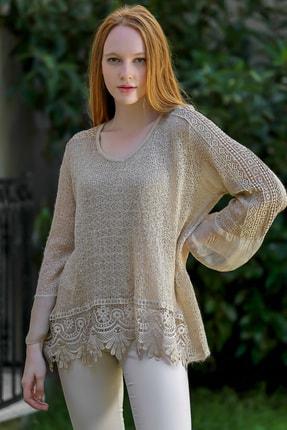 Chiccy Kadın Taş Rengi Italyan Pul Detaylı Kolları Ve Etek Ucu Danteli Ispanyol Kol Triko Bluz 1