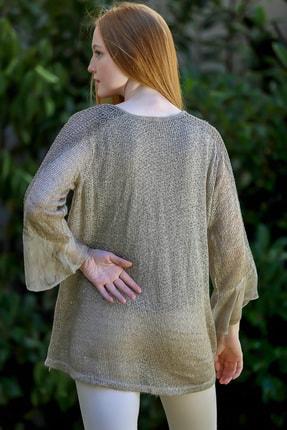 Chiccy Kadın Taş Rengi Italyan Pul Detaylı Kolları Ve Etek Ucu Danteli Ispanyol Kol Triko Bluz 3