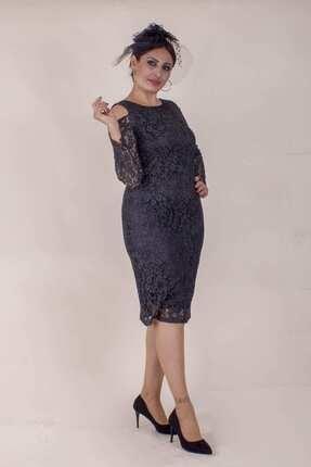 Paristan Kadın Siyah Abiye Elbise Dantel Ve Swarovski Taşlı 3