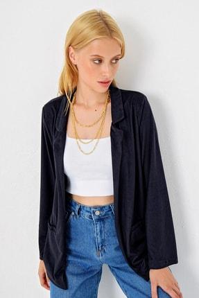 Trend Alaçatı Stili Kadın Lacivert Süet Ceket MDS-280-CKT 1