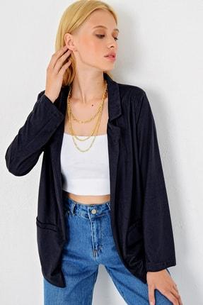 Trend Alaçatı Stili Kadın Lacivert Süet Ceket MDS-280-CKT 2
