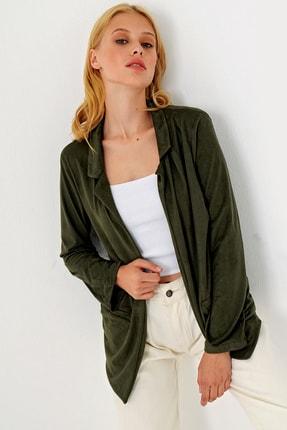 Trend Alaçatı Stili Kadın Yeşil Süet Ceket MDS-280-CKT 1