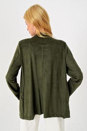 Trend Alaçatı Stili Kadın Yeşil Süet Ceket MDS-280-CKT 4