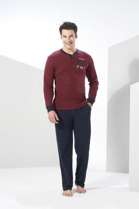 Erkek Bordo Kışlık Penye Pijama Takımı - resmi