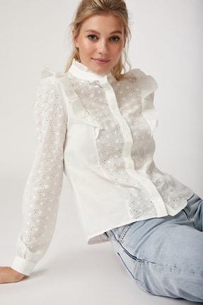 Happiness İst. Kadın Beyaz Fırfırlı Fistolu Gömlek FN02281 1