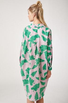 Happiness İst. Kadın Pembe Keten Viskon Oversize Gömlek Elbise FN02278 1