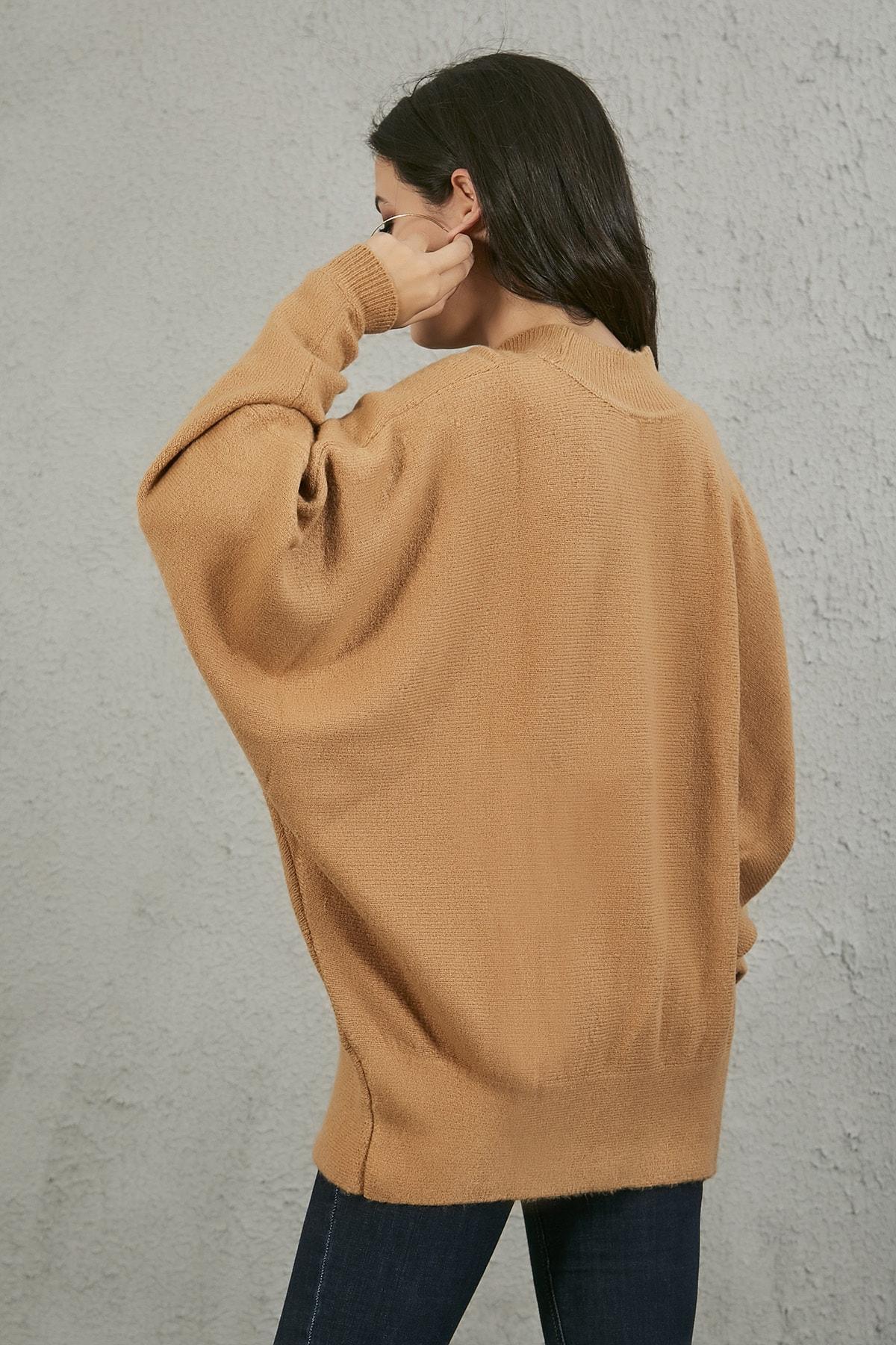 Sateen Kadın Tarçin Uzun Salaş Triko Kazak STN522KTR119 3