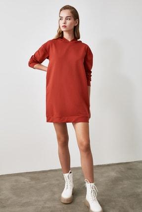 TRENDYOLMİLLA Tarçın Kapüşonlu Örme Sweat Elbise TWOAW20EL1554 1