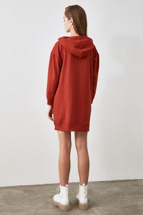 TRENDYOLMİLLA Tarçın Kapüşonlu Örme Sweat Elbise TWOAW20EL1554 3