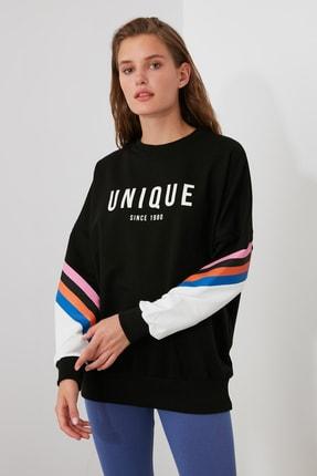 TRENDYOLMİLLA Siyah Baskılı Oversize Örme Sweatshirt TWOAW21SW0374 2