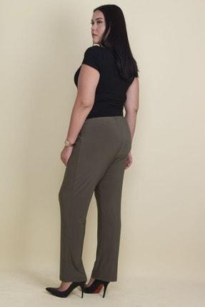 Şans Kadın Haki Buzy Kumaş Bel Kısmı Lastikli Likralı Pantolon 65N17891 3