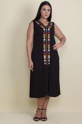 Şans Kadın Siyah Nakışlı V Yaka Viskon Elbise 65N17997 3