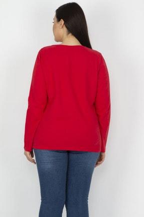 Şans Kadın Kırmızı Pamuklu Kumaş Ön Baskılı Bluz 65N17975 3