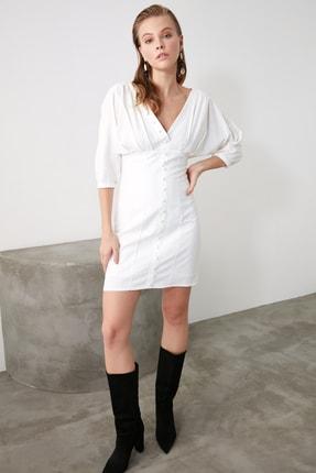 TRENDYOLMİLLA Ekru Düğmeli Elbise TWOSS20EL1068 0