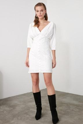 TRENDYOLMİLLA Ekru Düğmeli Elbise TWOSS20EL1068 2
