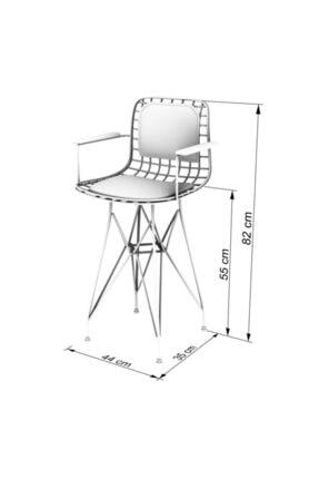 Kenzlife Knsz Ufak Boy Tel Bar Sandalyesi 1'li Uslu Syhkrm Sırt Minderli 55 cm Oturma Yüksekliği 1