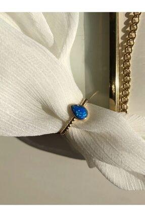 MİSSHİNG Kadın Damla Mavi Opal Taş Ayarlanabilir Yüzük 0
