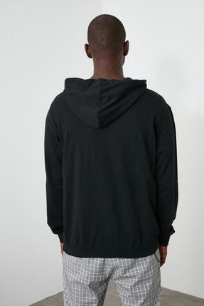 TRENDYOL MAN Siyah Erkek Regular Fit Kapüşonlu Kanguru Cepli Uzun Kollu Sweatshirt TMNAW20SW0162 4