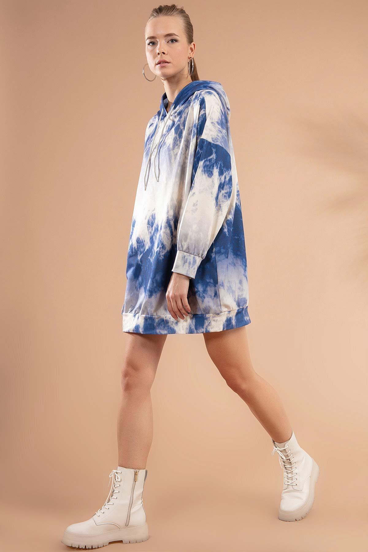 Pattaya Kadın Baskılı Kapşonlu Sweatshirt Elbise P20w-4125-3 2
