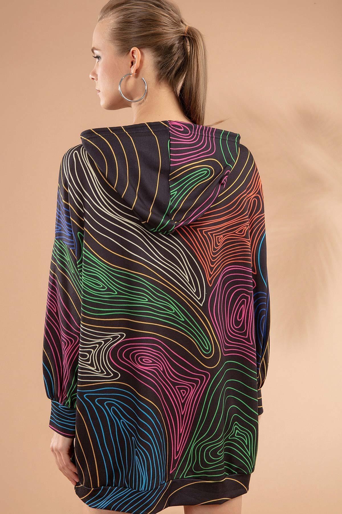 Pattaya Kadın Çizgili Kapşonlu Sweatshirt Elbise Y20w110-4125-18 4