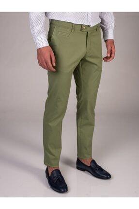 Dufy Yeşil Baskı Sık Dokuma Erkek Pantolon - Slım Fıt 0