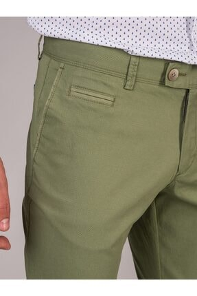 Dufy Yeşil Baskı Sık Dokuma Erkek Pantolon - Slım Fıt 1