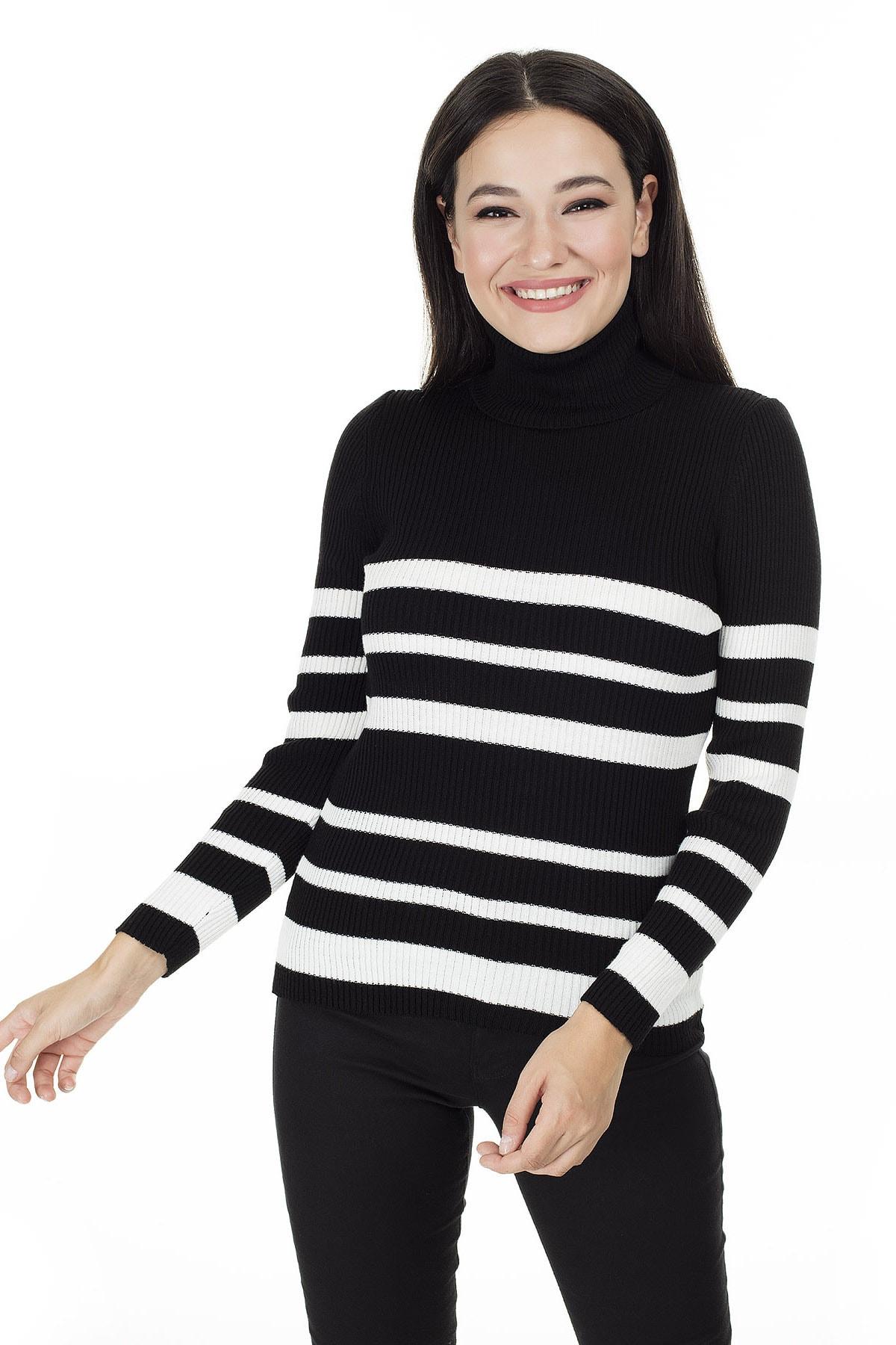 Lela Siyah-Ekru Balıkçı Yaka Kazak Kadın Kazak 4614993 4