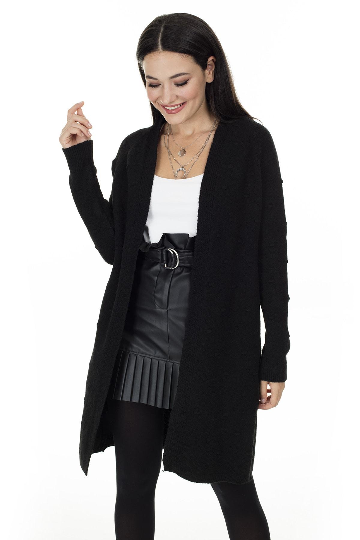 Lela Kadın Siyah Uzun Triko Hırka 4614825 1