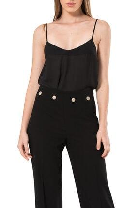 BİRELİN Kadın Siyah Düğme Detaylı Pantolon 1