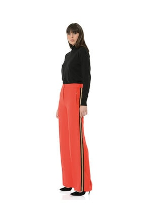 BİRELİN Kadın Kırmızı Bol Yüksek Belli Kenarı Şeritli Pantolon Collette 2