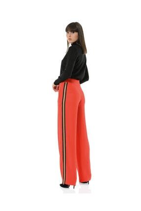 BİRELİN Kadın Kırmızı Bol Yüksek Belli Kenarı Şeritli Pantolon Collette 3