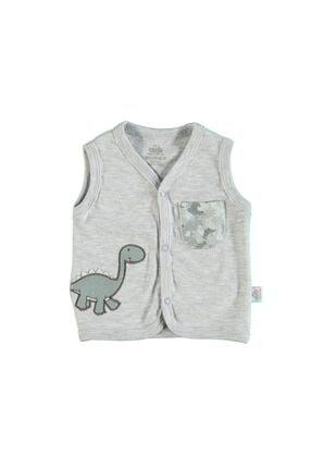 Erkek Bebek Dinosaur Yelek Gri 56 cm 8680767226923