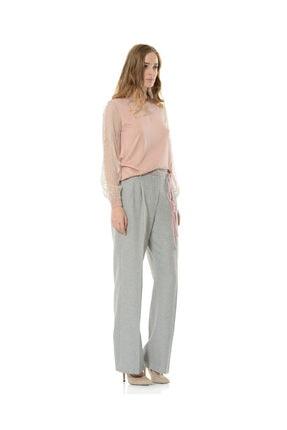 BİRELİN Kadın Gri Geniş Paça Pantolon 1