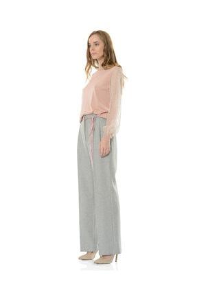 BİRELİN Kadın Gri Geniş Paça Pantolon 2