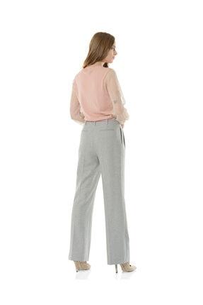 BİRELİN Kadın Gri Geniş Paça Pantolon 3