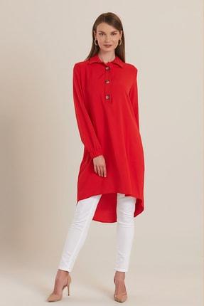 GÜLSELİ Kadın Kırmızı 3 Düğmeli Gömlek Tunik 0