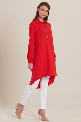GÜLSELİ Kadın Kırmızı 3 Düğmeli Gömlek Tunik 1