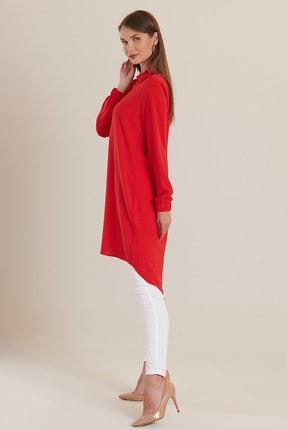 GÜLSELİ Kadın Kırmızı 3 Düğmeli Gömlek Tunik 2