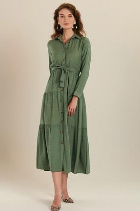 GÜLSELİ Kadın Mint Yeşili Gömlek Yaka Düğmeli Uzun Elbise 1