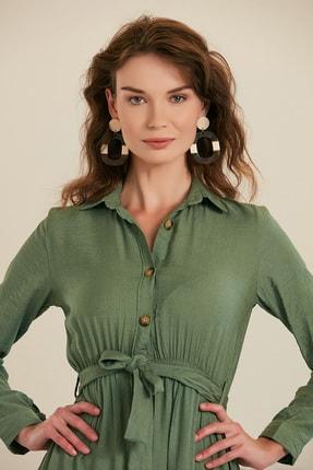 GÜLSELİ Kadın Mint Yeşili Gömlek Yaka Düğmeli Uzun Elbise 2