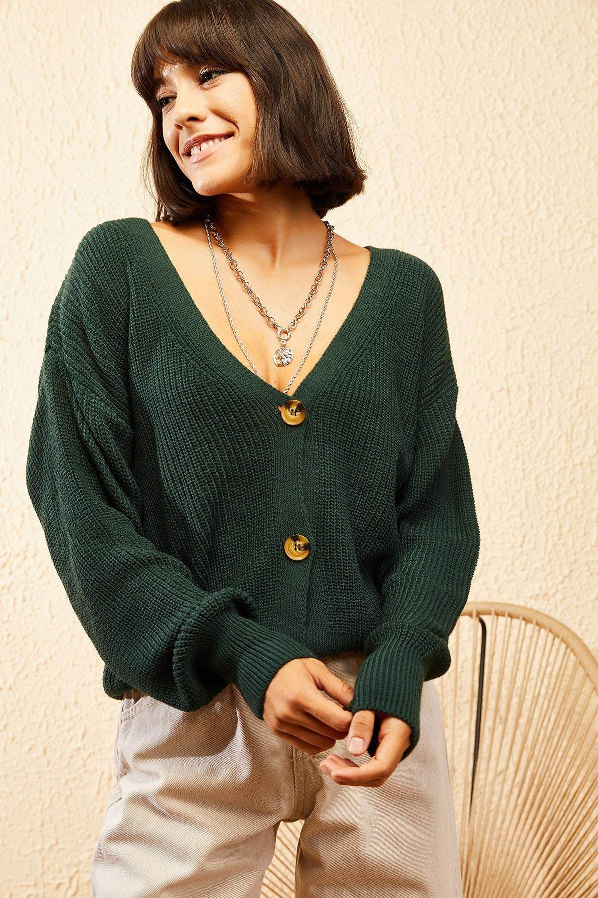 Bianco Lucci Kadın Yeşil 3 Düğmeli V Yaka Triko Hırka 10121004 4