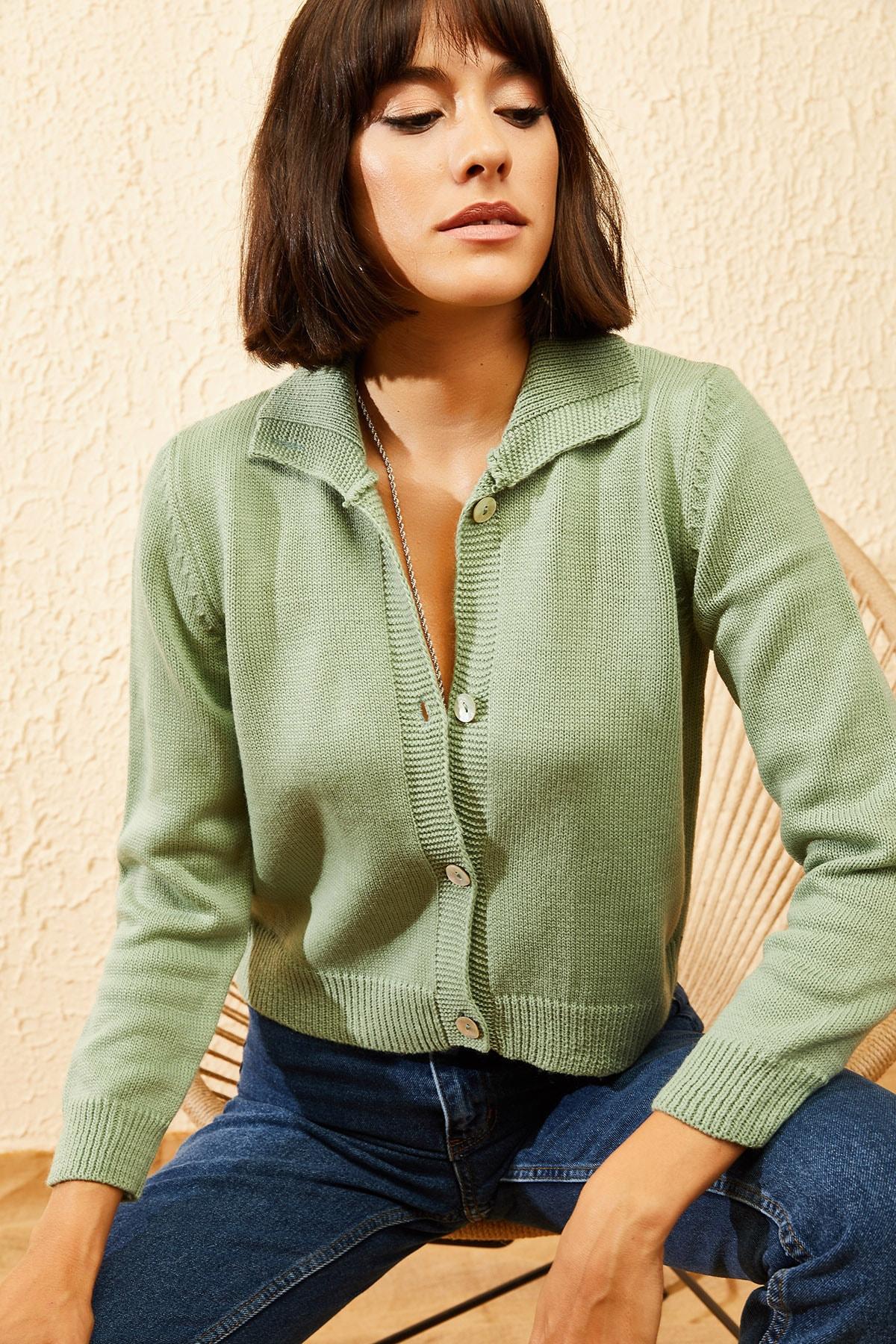 Bianco Lucci Kadın Çağla Yeşili Balıkçı Yaka Düğmeli Fitilli Hırka 10121003 1