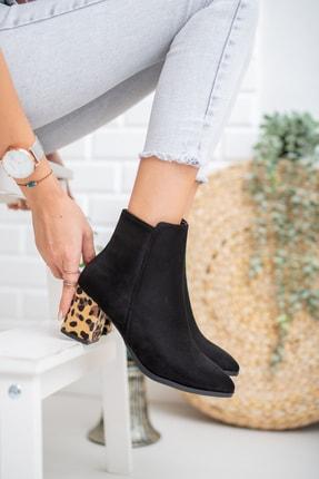 Moda Değirmeni Siyah Süet Leopar Kadın Bot Md1042-116-0007 1
