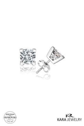 Kara Jewelry Kadın Beyaz Gümüş Küpe Swarovskı Taşlı Tektaş Küpe 1