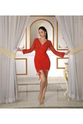 Drapeli Kırmızı Kısa Elbise MA1130