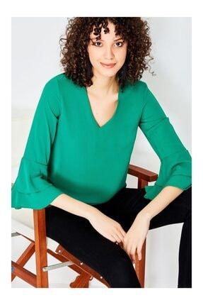Kadın Yeşil İspanyol Kol Bluz GLC0056